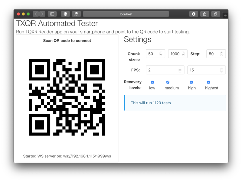 Animated QR data transfer with Gomobile and Gopherjs